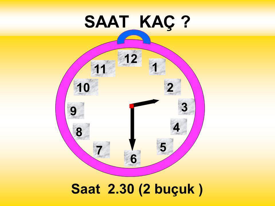 SAAT KAÇ 1 2 3 4 5 12 11 10 6 9 8 7 Saat 10.30 ( 10 buçuk )