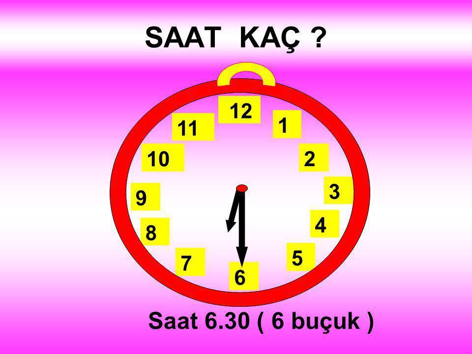 SAAT KAÇ 1 2 3 4 5 12 11 10 6 9 8 7. Saat 2.30 (2 buçuk )