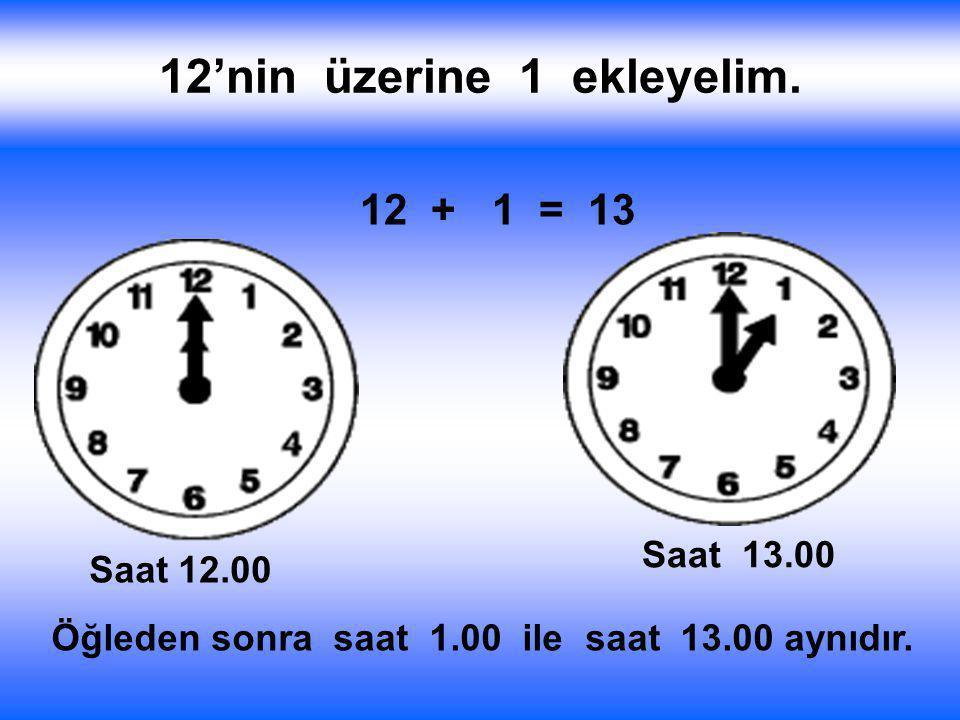 Bir gün 24 saattir. Saatin üzerinde 12'ye kadar rakamlar vardır. Eeeee, 12'den sonra saatleri nasıl söyleyeceğiz ? İnceleyelim - Öğrenelim Saat 12 Pek