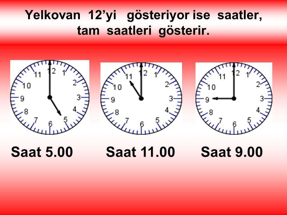 Saatin üzerinde, akrep ve yelkovanın yanı sıra 12'ye kadar rakamlar bulunur. 1 2 3 4 5 6 7 8 9 10 11 12