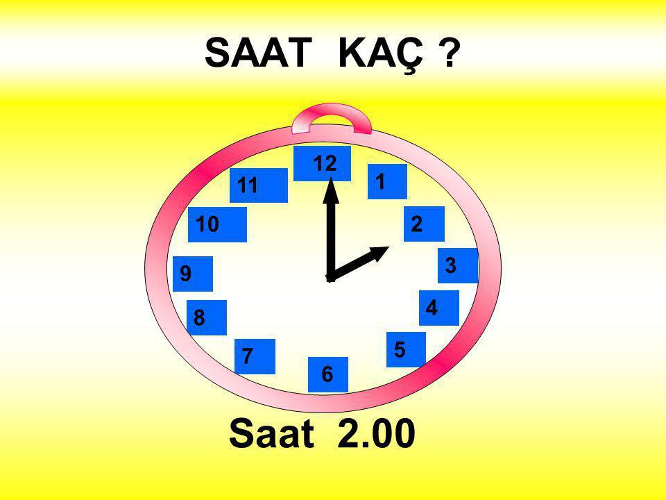 SAAT KAÇ Saat 6.00 1 2 3 4 5 12 11 10 6 9 8 7