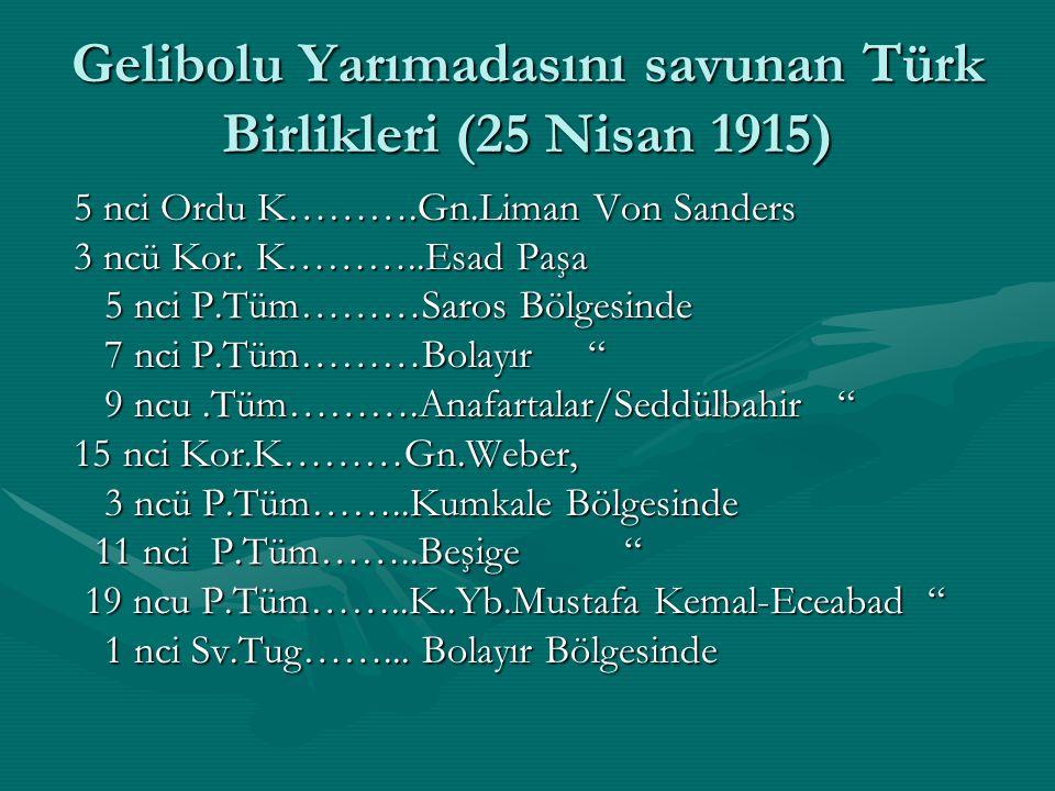 Gelibolu Yarımadasını savunan Türk Birlikleri (25 Nisan 1915) 5 nci Ordu K……….Gn.Liman Von Sanders 5 nci Ordu K……….Gn.Liman Von Sanders 3 ncü Kor. K……