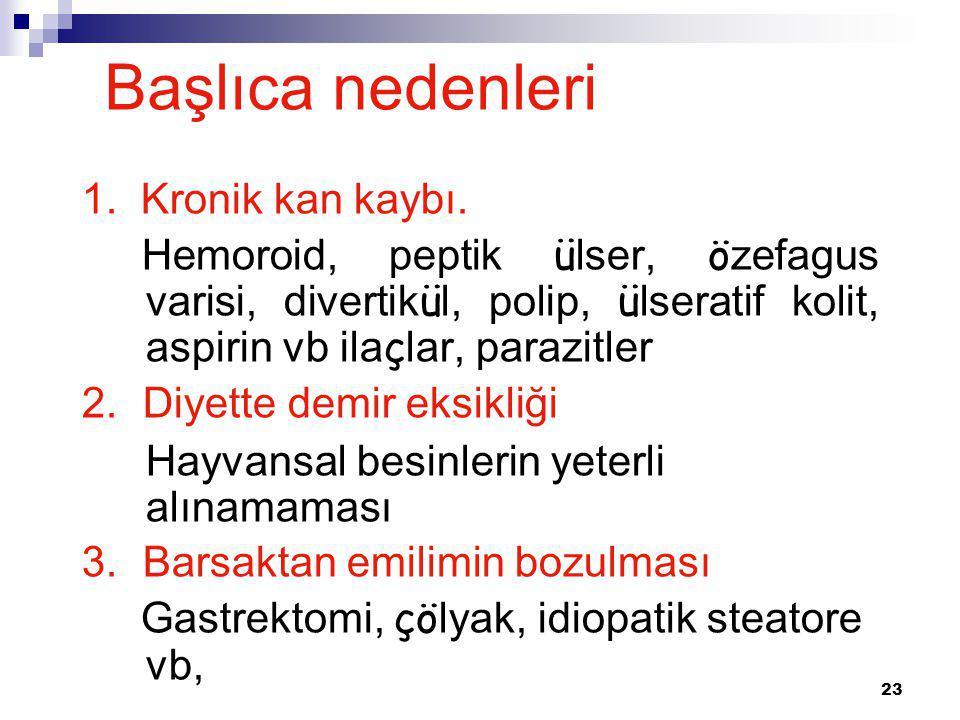 23 1. Kronik kan kaybı. Hemoroid, peptik ü lser, ö zefagus varisi, divertik ü l, polip, ü lseratif kolit, aspirin vb ila ç lar, parazitler 2. Diyette