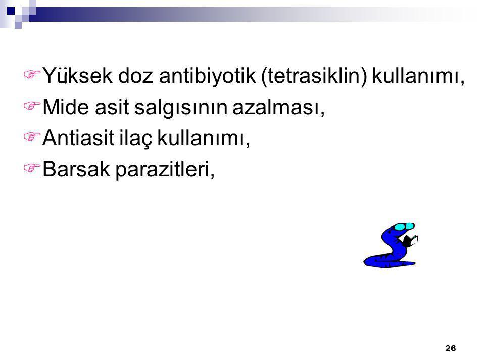 26  Y ü ksek doz antibiyotik (tetrasiklin) kullanımı,  Mide asit salgısının azalması,  Antiasit ilaç kullanımı,  Barsak parazitleri,