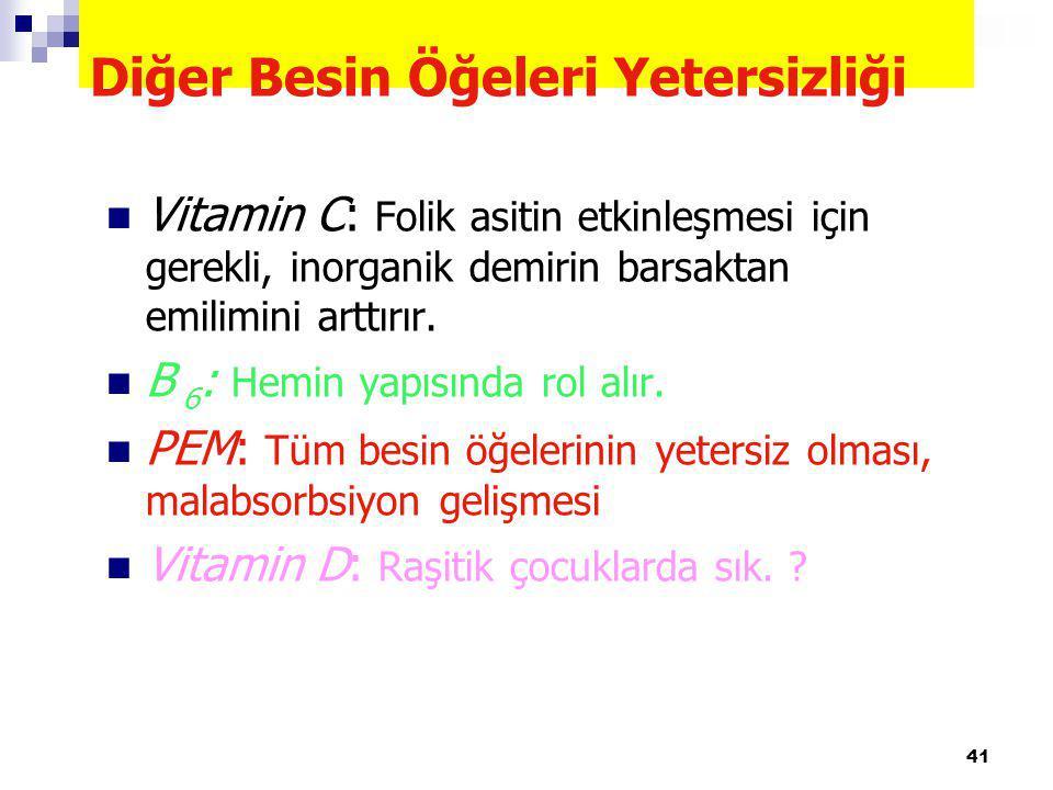 41 Diğer Besin Öğeleri Yetersizliği Vitamin C: Folik asitin etkinleşmesi için gerekli, inorganik demirin barsaktan emilimini arttırır. B 6 : Hemin yap