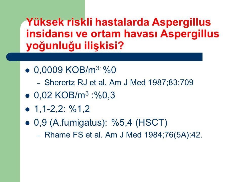 Yüksek riskli hastalarda Aspergillus insidansı ve ortam havası Aspergillus yoğunluğu ilişkisi? 0,0009 KOB/m 3: %0 – Sherertz RJ et al. Am J Med 1987;8