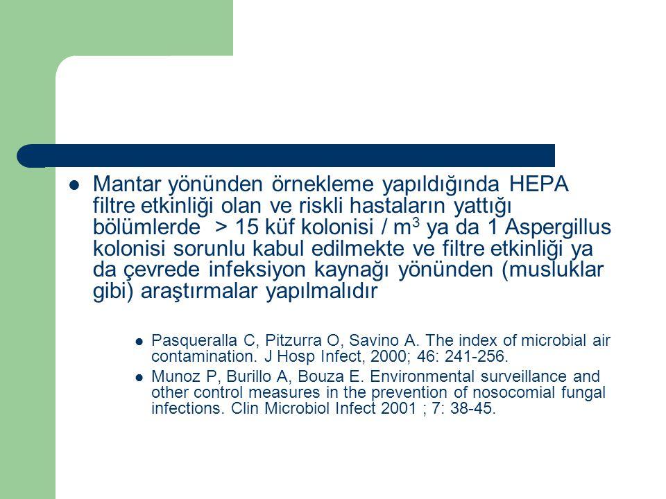 Mantar yönünden örnekleme yapıldığında HEPA filtre etkinliği olan ve riskli hastaların yattığı bölümlerde > 15 küf kolonisi / m 3 ya da 1 Aspergillus