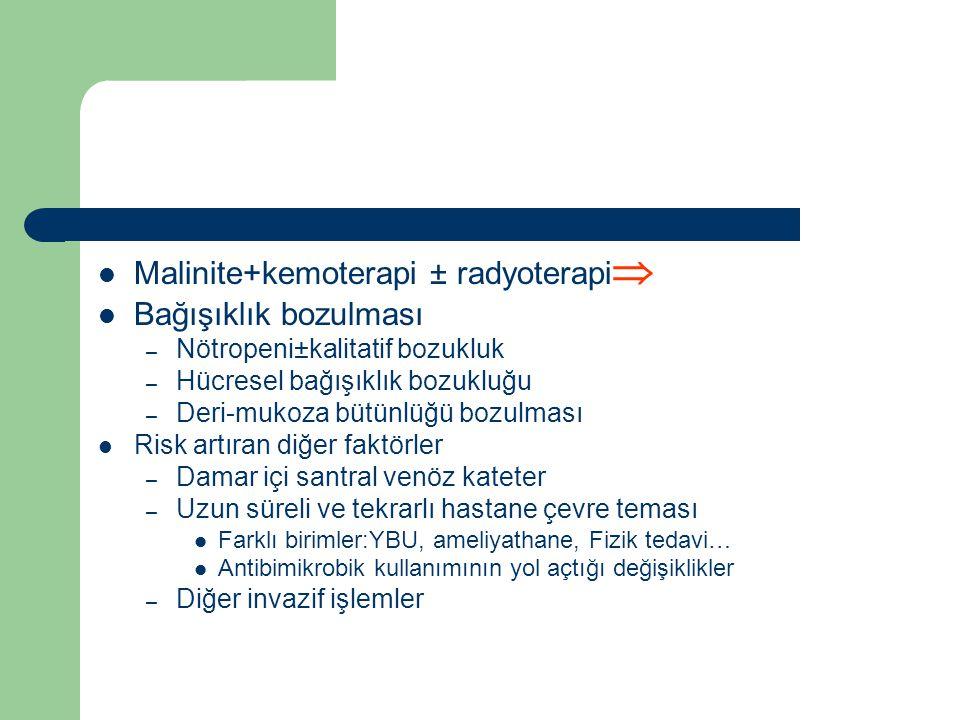 Malinite+kemoterapi ± radyoterapi  Bağışıklık bozulması – Nötropeni±kalitatif bozukluk – Hücresel bağışıklık bozukluğu – Deri-mukoza bütünlüğü bozulm