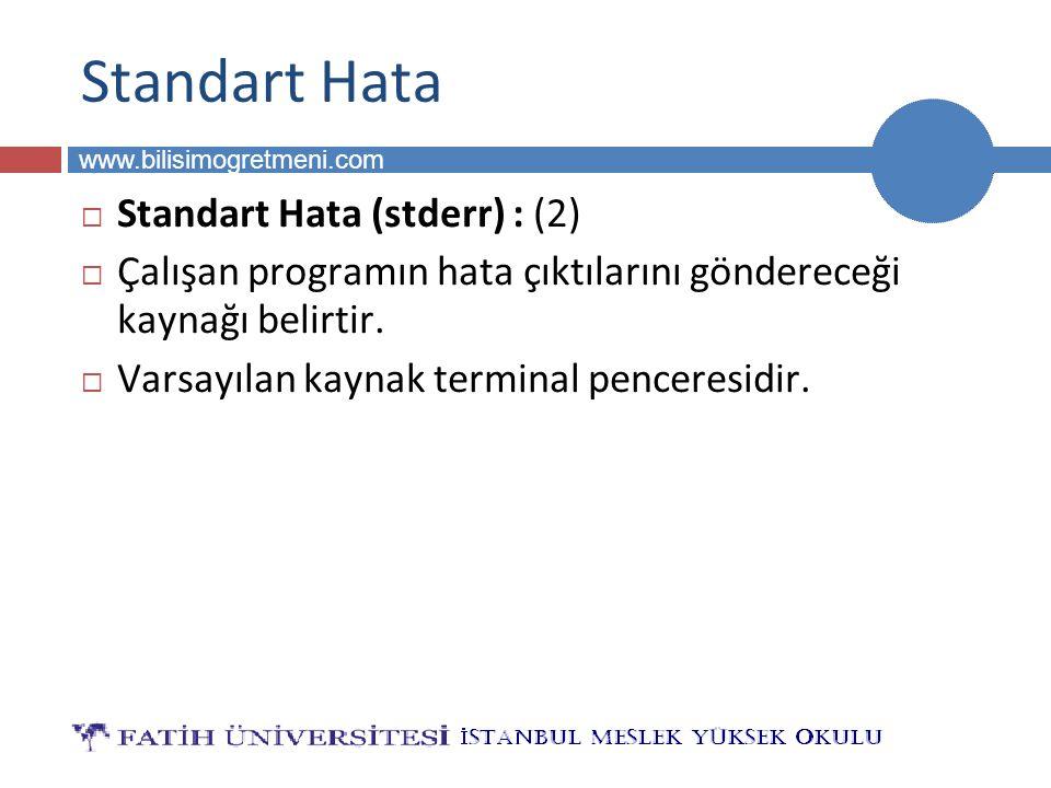 BİLG 223 www.bilisimogretmeni.com Standart Hata  Standart Hata (stderr) : (2)  Çalışan programın hata çıktılarını göndereceği kaynağı belirtir.  Va