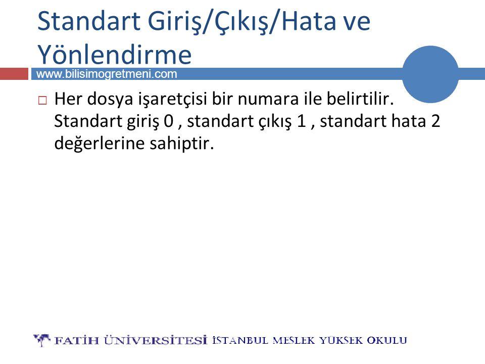 BİLG 223 www.bilisimogretmeni.com Standart Giriş/Çıkış/Hata ve Yönlendirme  Her dosya işaretçisi bir numara ile belirtilir. Standart giriş 0, standar