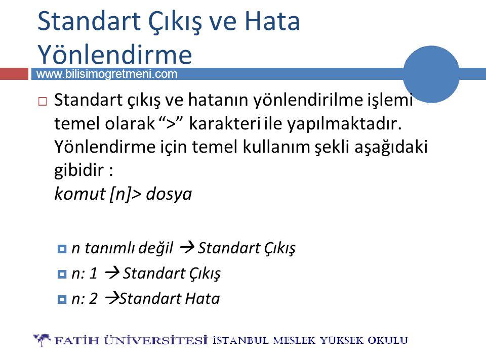 """BİLG 223 www.bilisimogretmeni.com Standart Çıkış ve Hata Yönlendirme  Standart çıkış ve hatanın yönlendirilme işlemi temel olarak """">"""" karakteri ile y"""