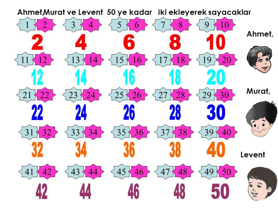 Ahmet, Murat ve Murat, Levent 50 ye kadar iki ekleyerek sayacaklar 12345678910 11121314151617181920 21222324252627282930 31323334353637383940 41424344