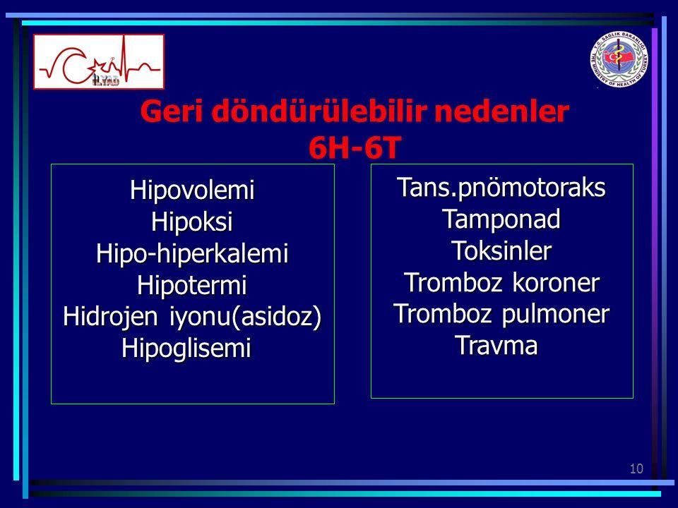 10 Geri döndürülebilir nedenler 6H-6T HipovolemiHipoksiHipo-hiperkalemiHipotermi Hidrojen iyonu(asidoz) HipoglisemiTans.pnömotoraksTamponadToksinler T