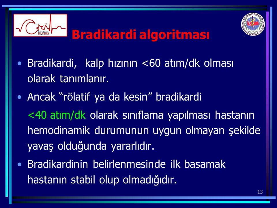 """13 Bradikardi algoritması Bradikardi, kalp hızının <60 atım/dk olması olarak tanımlanır. Ancak """"rölatif ya da kesin"""" bradikardi <40 atım/dk olarak sın"""
