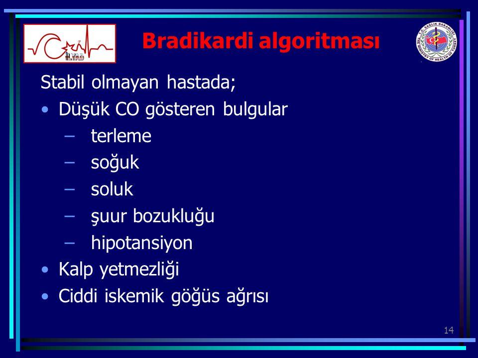 14 Bradikardi algoritması Stabil olmayan hastada; Düşük CO gösteren bulgular – terleme – soğuk – soluk – şuur bozukluğu – hipotansiyon Kalp yetmezliği