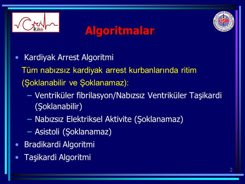 2 Algoritmalar Kardiyak Arrest Algoritmi Tüm nabızsız kardiyak arrest kurbanlarında ritim (Şoklanabilir ve Şoklanamaz): –Ventriküler fibrilasyon/Nabız