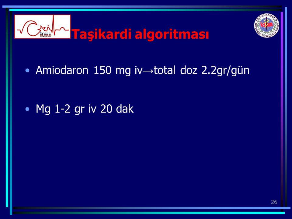 26 Taşikardi algoritması Amiodaron 150 mg iv → total doz 2.2gr/gün Mg 1-2 gr iv 20 dak