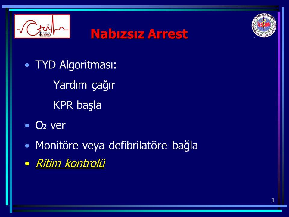 3 Nabızsız Arrest TYD Algoritması: Yardım çağır KPR başla O 2 ver Monitöre veya defibrilatöre bağla Ritim kontrolüRitim kontrolü