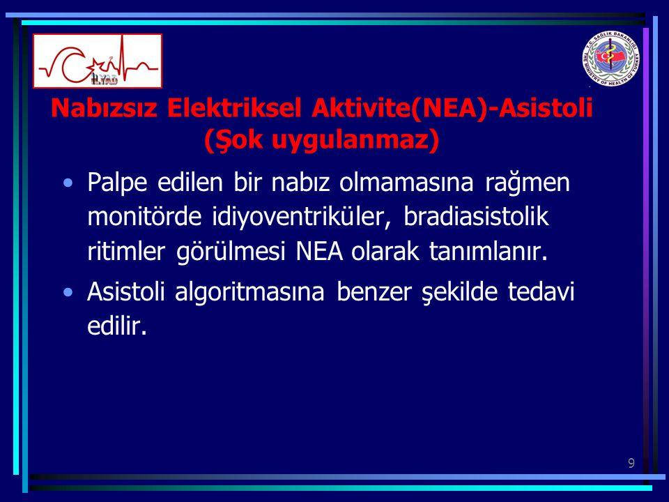 9 Nabızsız Elektriksel Aktivite(NEA)-Asistoli (Şok uygulanmaz) Palpe edilen bir nabız olmamasına rağmen monitörde idiyoventriküler, bradiasistolik rit