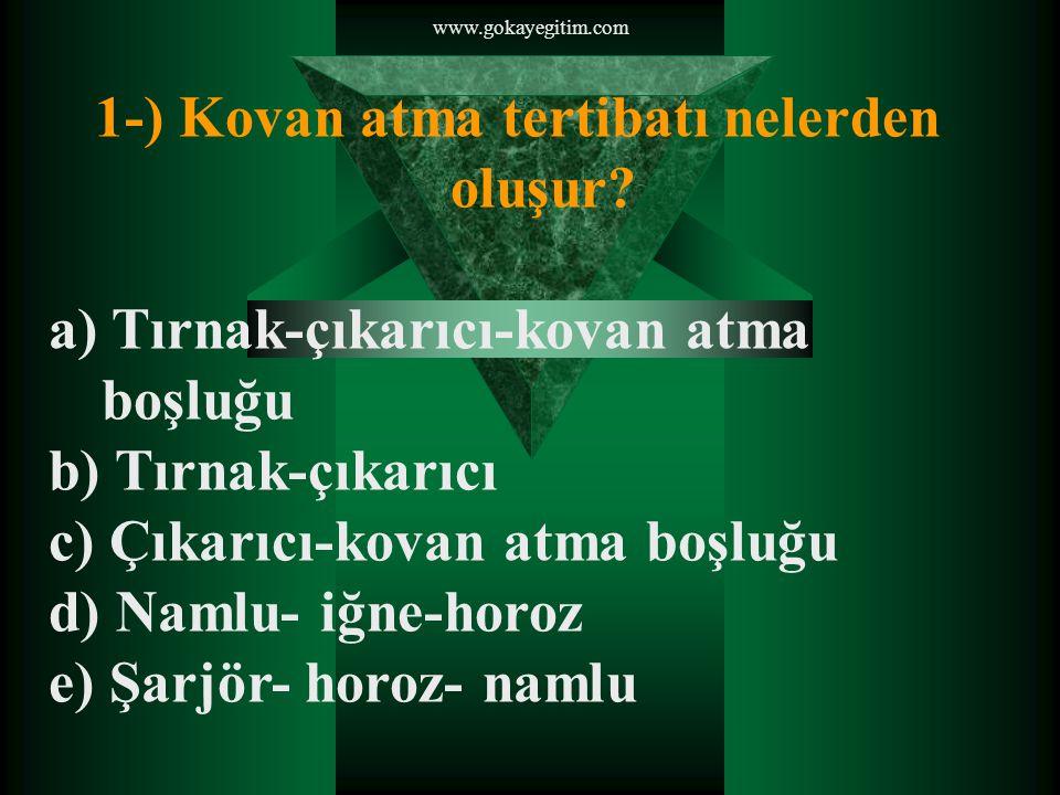 www.gokayegitim.com 1-) Kovan atma tertibatı nelerden oluşur.