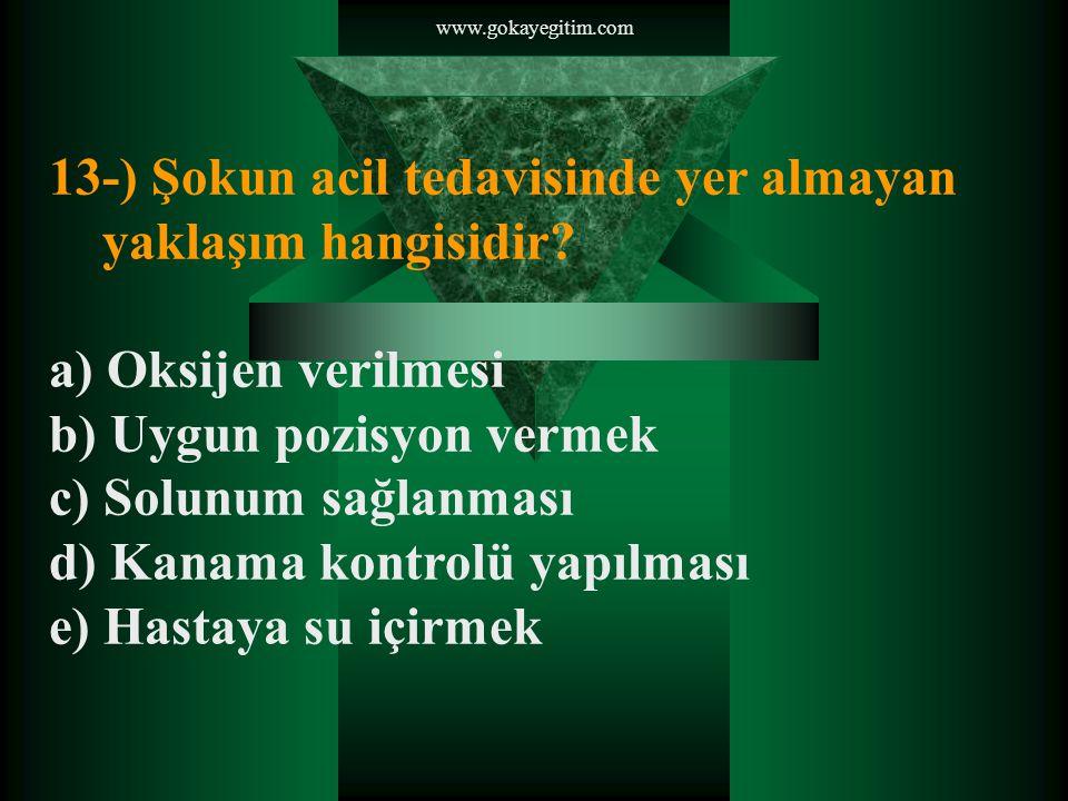 www.gokayegitim.com 13-) Şokun acil tedavisinde yer almayan yaklaşım hangisidir.