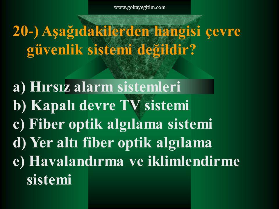 www.gokayegitim.com 20-) Aşağıdakilerden hangisi çevre güvenlik sistemi değildir.