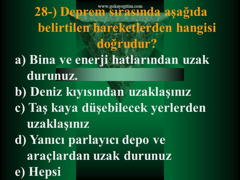 www.gokayegitim.com 28-) Deprem sırasında aşağıda belirtilen hareketlerden hangisi doğrudur.