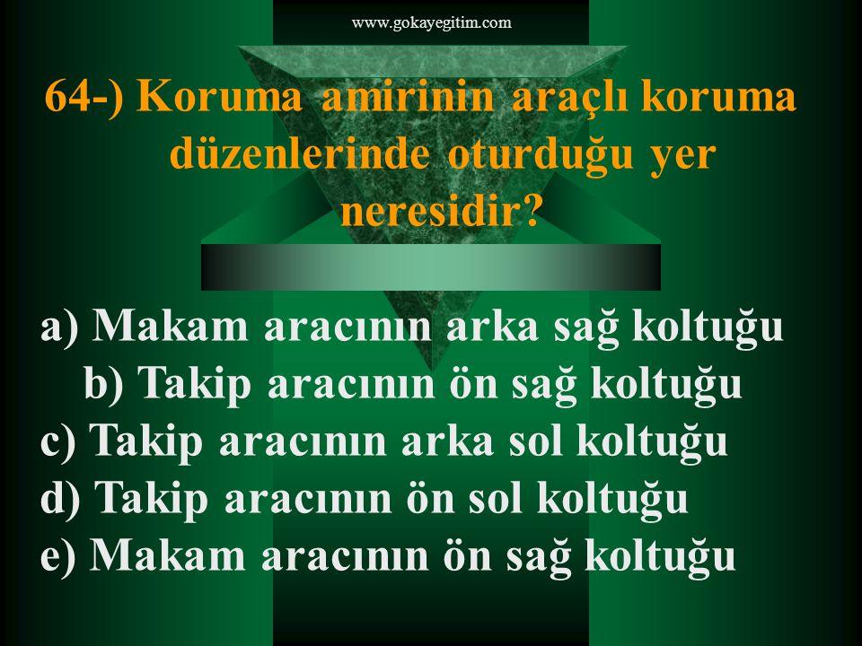 www.gokayegitim.com 64-) Koruma amirinin araçlı koruma düzenlerinde oturduğu yer neresidir.