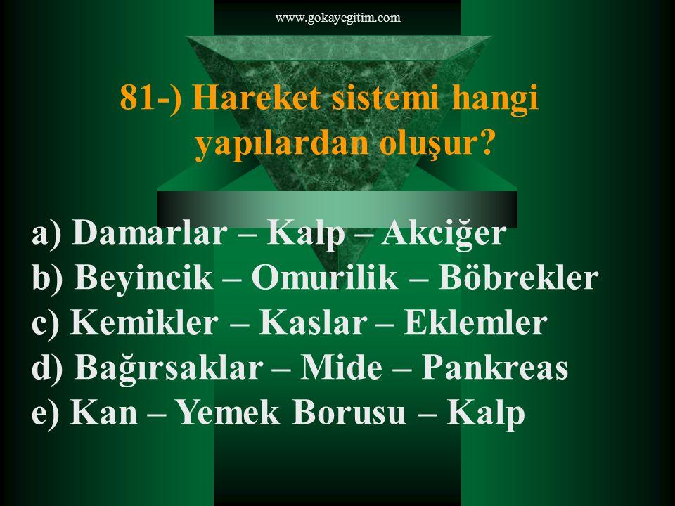 www.gokayegitim.com 81-) Hareket sistemi hangi yapılardan oluşur.