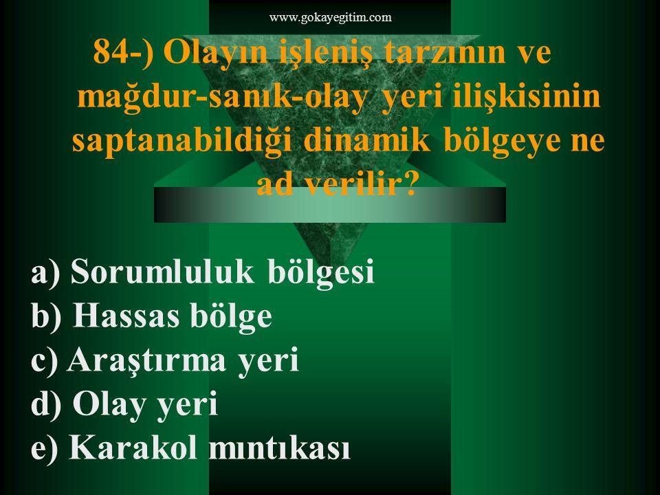 www.gokayegitim.com 84-) Olayın işleniş tarzının ve mağdur-sanık-olay yeri ilişkisinin saptanabildiği dinamik bölgeye ne ad verilir.