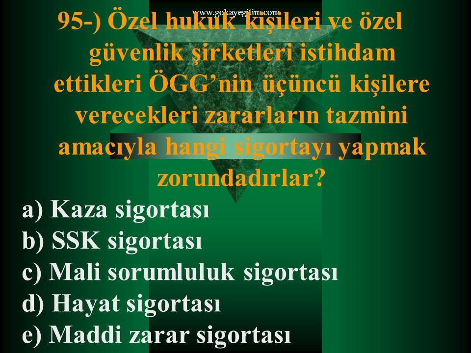 www.gokayegitim.com 95-) Özel hukuk kişileri ve özel güvenlik şirketleri istihdam ettikleri ÖGG'nin üçüncü kişilere verecekleri zararların tazmini amacıyla hangi sigortayı yapmak zorundadırlar.