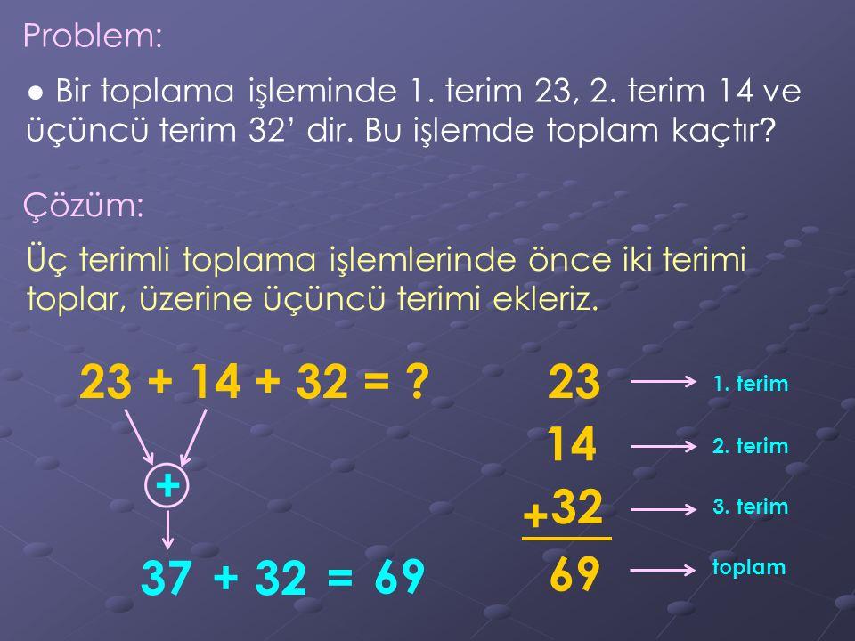 Problem: ● Bir toplama işleminde 1. terim 23, 2. terim 14 ve üçüncü terim 32' dir. Bu işlemde toplam kaçtır ? Çözüm: Üç terimli toplama işlemlerinde ö