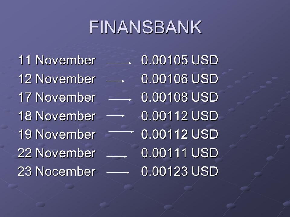 FINANSBANK 11 November 0.00105 USD 12 November 0.00106 USD 17 November 0.00108 USD 18 November 0.00112 USD 19 November 0.00112 USD 22 November 0.00111 USD 23 Nocember 0.00123 USD