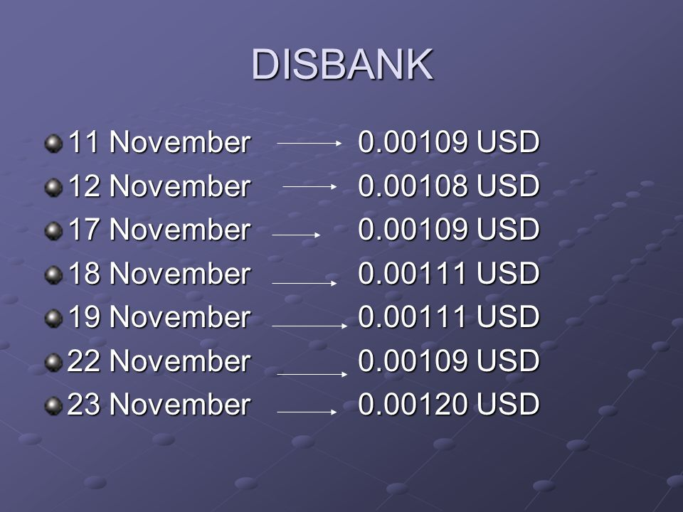 DISBANK 11 November 0.00109 USD 12 November 0.00108 USD 17 November 0.00109 USD 18 November 0.00111 USD 19 November 0.00111 USD 22 November 0.00109 USD 23 November 0.00120 USD