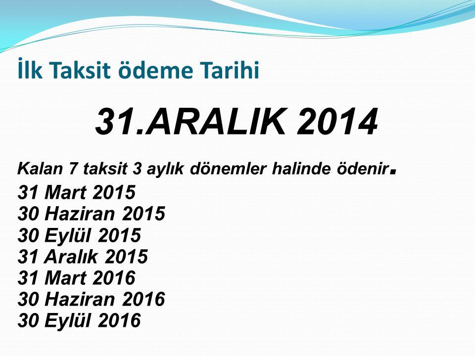 İlk Taksit ödeme Tarihi 31.ARALIK 2014 Kalan 7 taksit 3 aylık dönemler halinde ödenir.