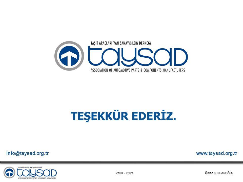 İZMİR - 2009 Ömer BURHANOĞLU TEŞEKKÜR EDERİZ. www.taysad.org.trinfo@taysad.org.tr