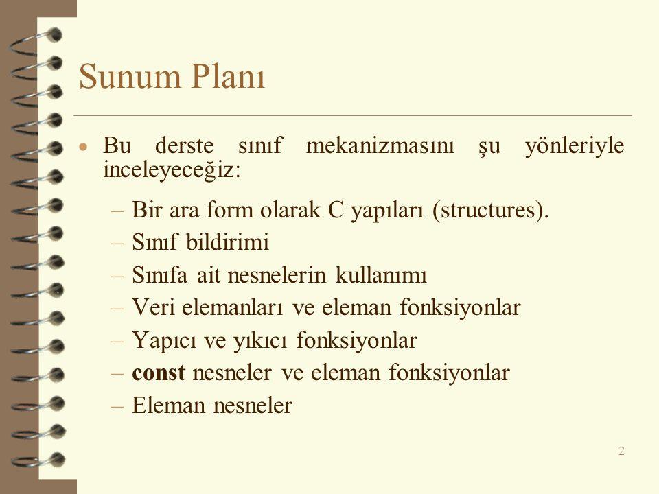 Sunum Planı  Bu derste sınıf mekanizmasını şu yönleriyle inceleyeceğiz: –Bir ara form olarak C yapıları (structures).