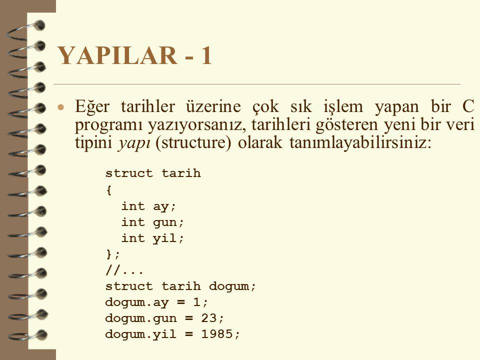 YAPILAR - 1  Eğer tarihler üzerine çok sık işlem yapan bir C programı yazıyorsanız, tarihleri gösteren yeni bir veri tipini yapı (structure) olarak tanımlayabilirsiniz: struct tarih { int ay; int gun; int yil; }; //...