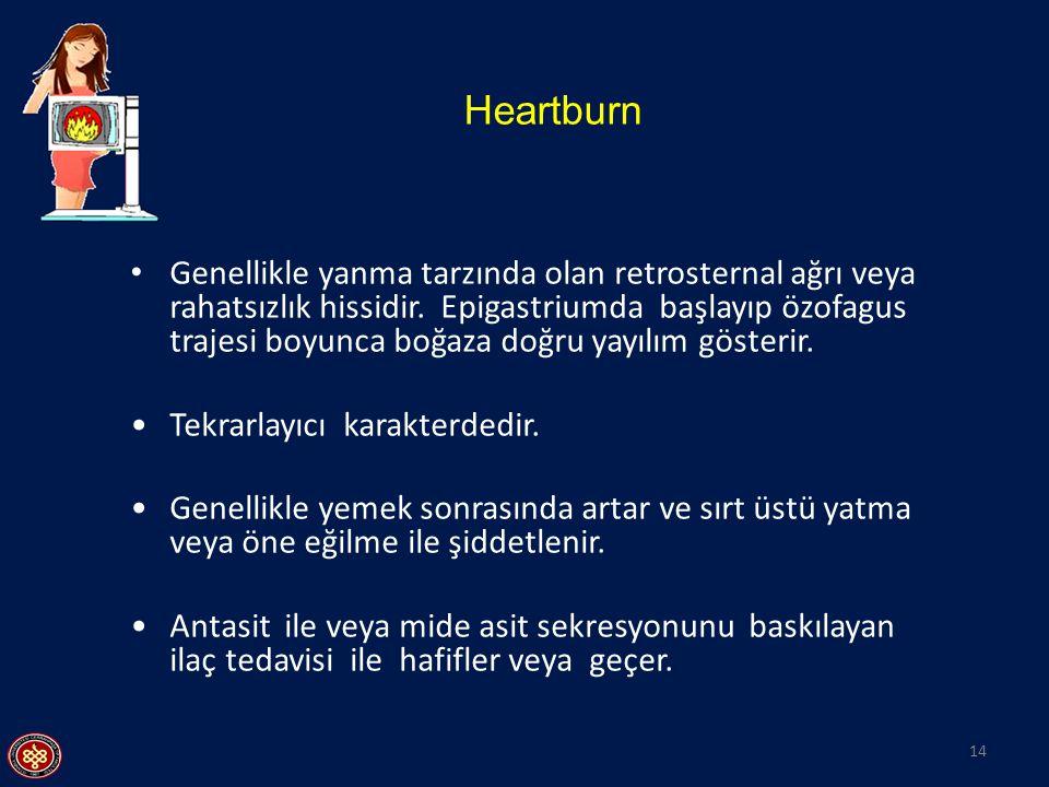 Heartburn 14 Genellikle yanma tarzında olan retrosternal ağrı veya rahatsızlık hissidir. Epigastriumda başlayıp özofagus trajesi boyunca boğaza doğru