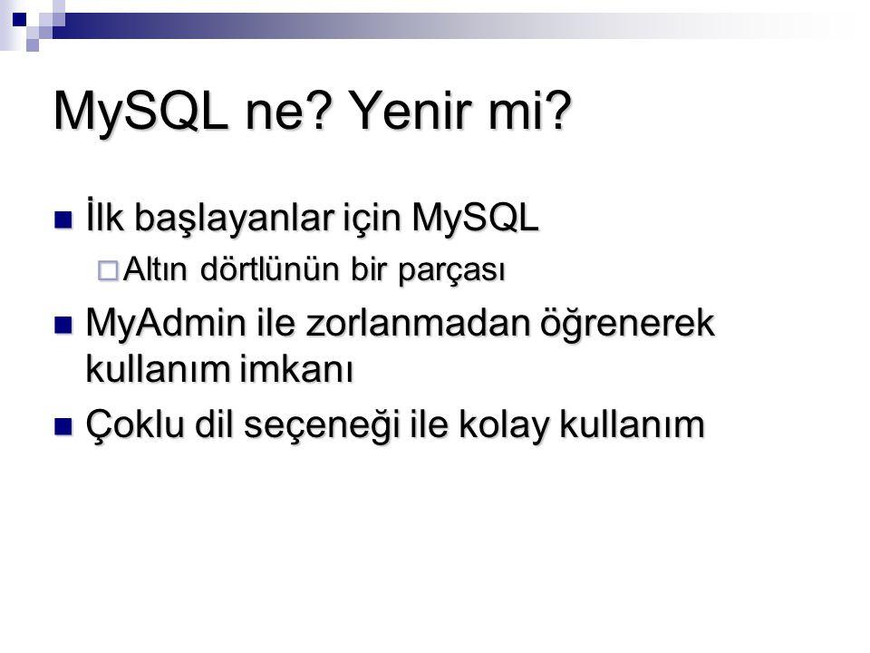 MySQL ne? Yenir mi? İlk başlayanlar için MySQL İlk başlayanlar için MySQL  Altın dörtlünün bir parçası MyAdmin ile zorlanmadan öğrenerek kullanım imk
