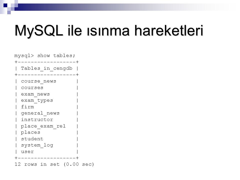 MySQL ile ısınma hareketleri mysql> show tables; +------------------+ | Tables_in_cengdb | +------------------+ | course_news | | courses | | exam_news | | exam_types | | firm | | general_news | | instructor | | place_exam_rel | | places | | student | | system_log | | user | +------------------+ 12 rows in set (0.00 sec)