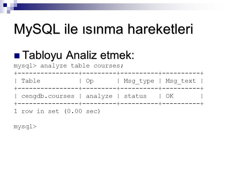 MySQL ile ısınma hareketleri Tabloyu Analiz etmek: Tabloyu Analiz etmek: mysql> analyze table courses; +----------------+---------+----------+--------