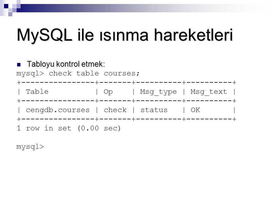 MySQL ile ısınma hareketleri Tabloyu kontrol etmek: Tabloyu kontrol etmek: mysql> check table courses; +----------------+-------+----------+----------