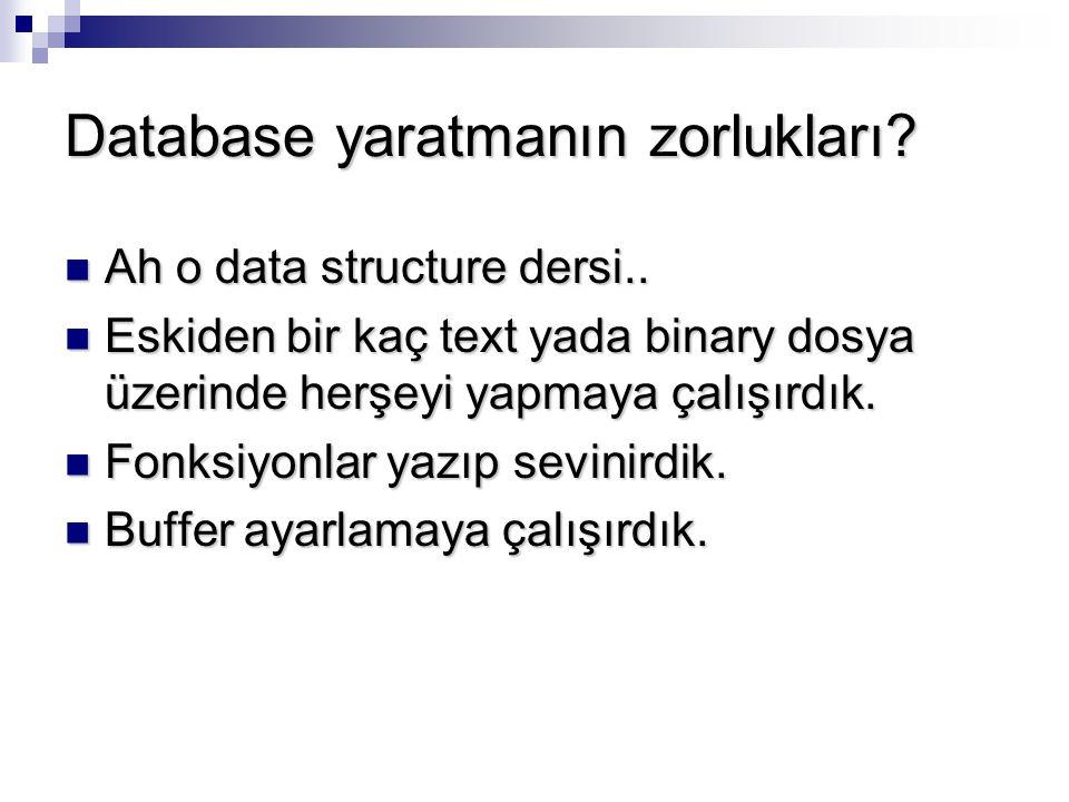 Database yaratmanın zorlukları? Ah o data structure dersi.. Ah o data structure dersi.. Eskiden bir kaç text yada binary dosya üzerinde herşeyi yapmay