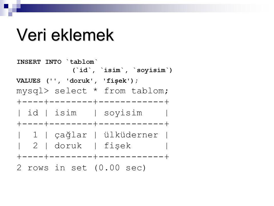 Veri eklemek INSERT INTO `tablom` (`id`, `isim`, `soyisim`) VALUES ('', 'doruk', 'fişek'); mysql> select * from tablom; +----+--------+------------+ |