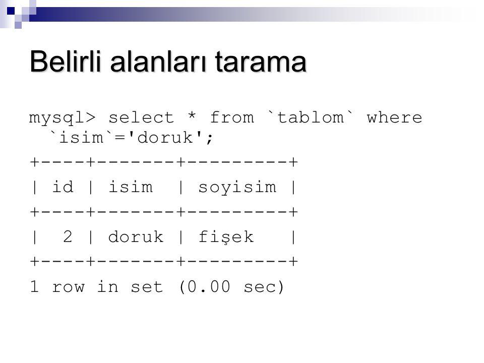 Belirli alanları tarama mysql> select * from `tablom` where `isim`='doruk'; +----+-------+---------+ | id | isim | soyisim | +----+-------+---------+
