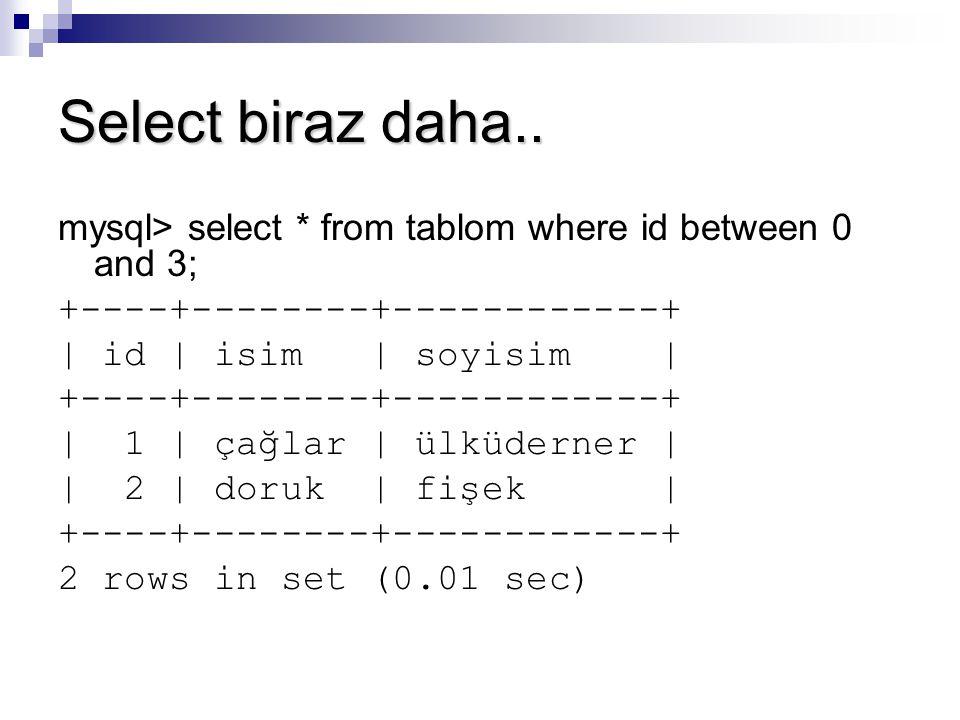 Select biraz daha.. mysql> select * from tablom where id between 0 and 3; +----+--------+------------+ | id | isim | soyisim | +----+--------+--------