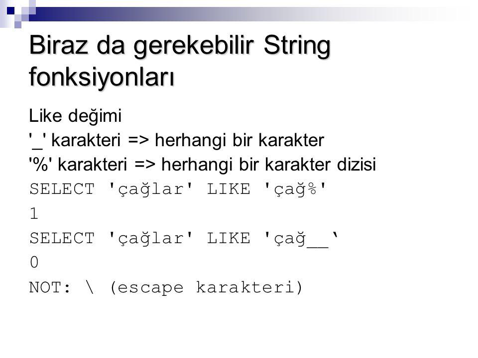 Biraz da gerekebilir String fonksiyonları Like değimi '_' karakteri => herhangi bir karakter '%' karakteri => herhangi bir karakter dizisi SELECT 'çağ