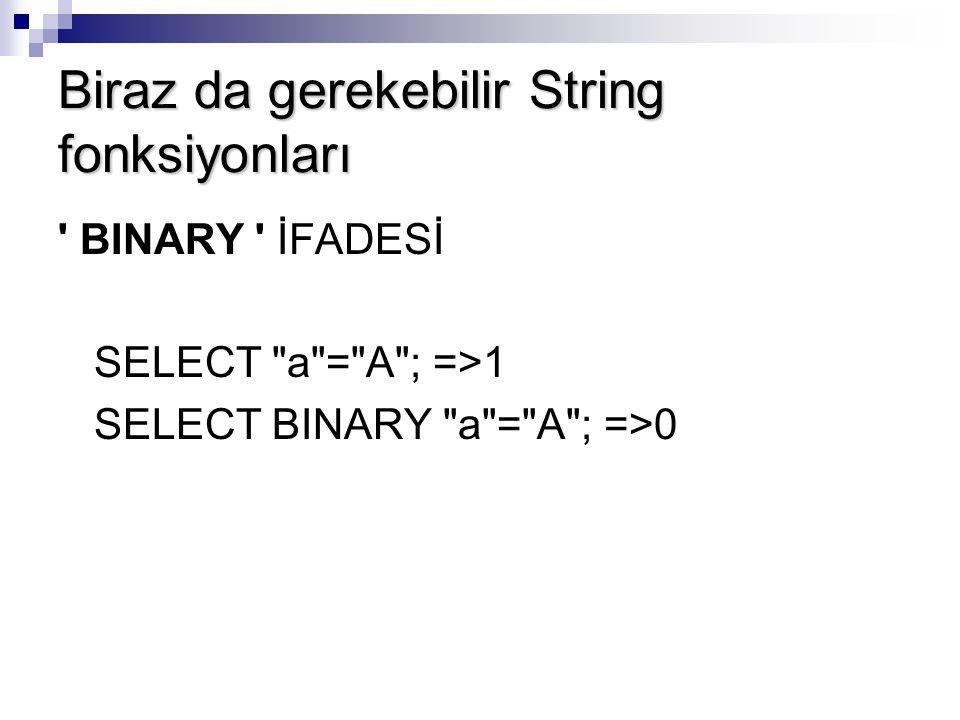 Biraz da gerekebilir String fonksiyonları ' BINARY ' İFADESİ SELECT