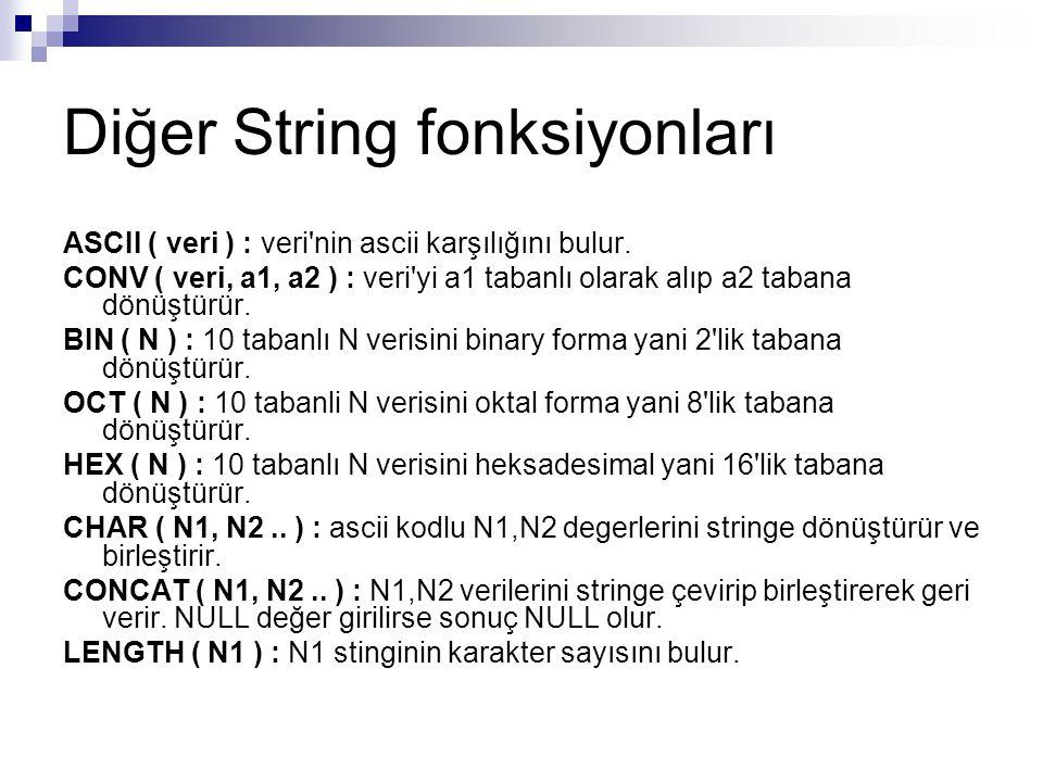 Diğer String fonksiyonları ASCII ( veri ) : veri'nin ascii karşılığını bulur. CONV ( veri, a1, a2 ) : veri'yi a1 tabanlı olarak alıp a2 tabana dönüştü